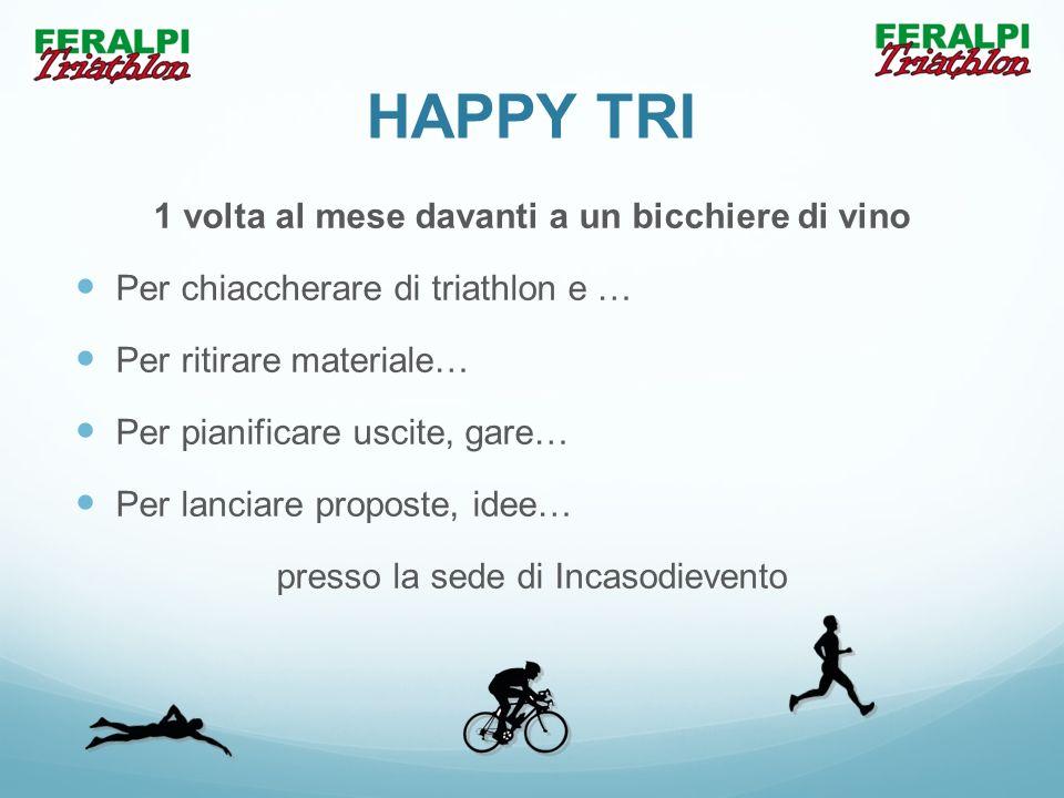 HAPPY TRI 1 volta al mese davanti a un bicchiere di vino Per chiaccherare di triathlon e … Per ritirare materiale… Per pianificare uscite, gare… Per l