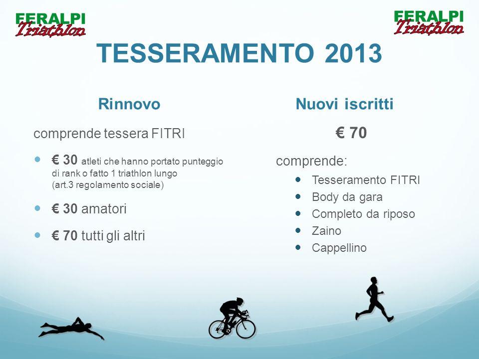 TESSERAMENTO 2013 Rinnovo comprende tessera FITRI 30 atleti che hanno portato punteggio di rank o fatto 1 triathlon lungo (art.3 regolamento sociale)
