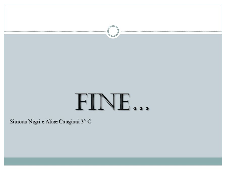 FINE… FINE… Simona Nigri e Alice Cangiani 3° C