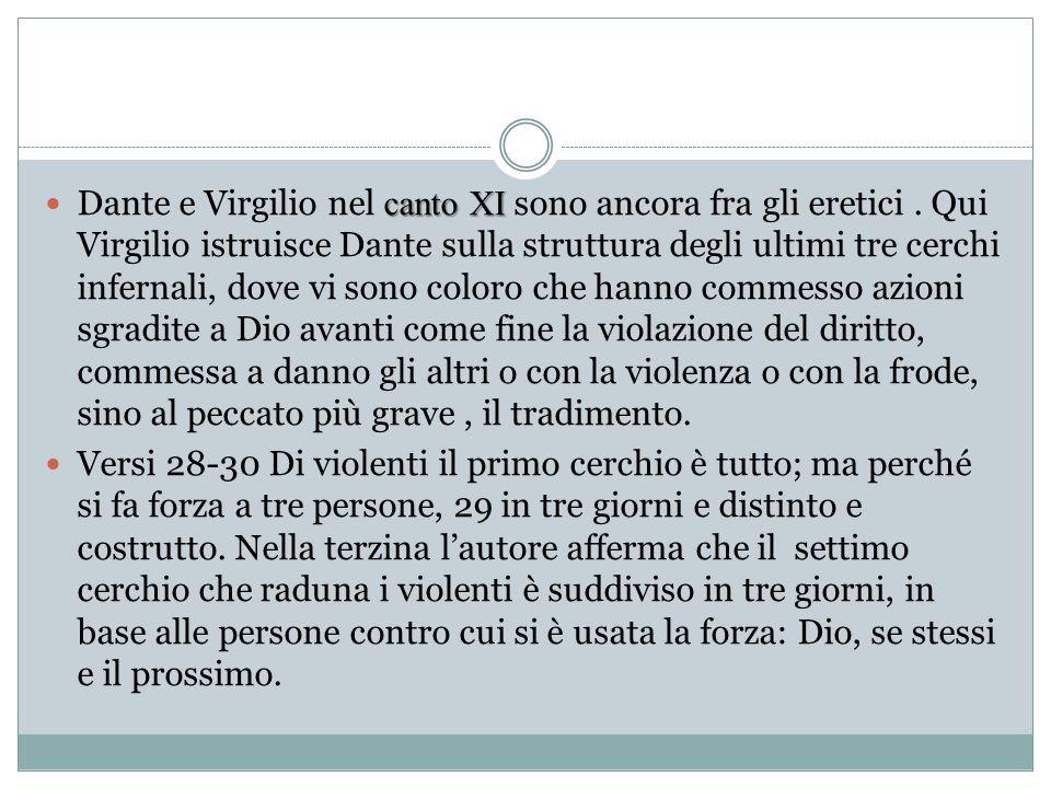 canto XI Dante e Virgilio nel canto XI sono ancora fra gli eretici. Qui Virgilio istruisce Dante sulla struttura degli ultimi tre cerchi infernali, do