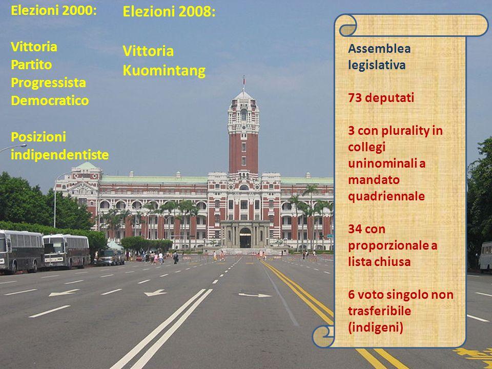Elezioni 2000: Vittoria Partito Progressista Democratico Posizioni indipendentiste Assemblea legislativa 73 deputati 3 con plurality in collegi uninominali a mandato quadriennale 34 con proporzionale a lista chiusa 6 voto singolo non trasferibile (indigeni) Elezioni 2008: Vittoria Kuomintang