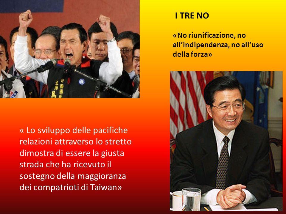 « Lo sviluppo delle pacifiche relazioni attraverso lo stretto dimostra di essere la giusta strada che ha ricevuto il sostegno della maggioranza dei compatrioti di Taiwan» I TRE NO «No riunificazione, no allindipendenza, no alluso della forza»