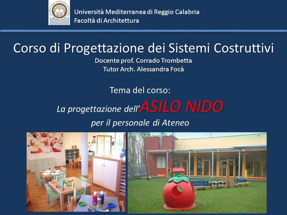 Corso di Progettazione dei Sistemi Costruttivi Docente prof. Corrado Trombetta Tutor Arch. Alessandra Focà Università Mediterranea di Reggio Calabria