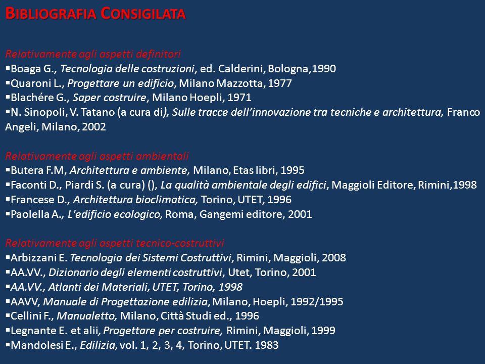 B IBLIOGRAFIA C ONSIGILATA Relativamente agli aspetti definitori Boaga G., Tecnologia delle costruzioni, ed. Calderini, Bologna,1990 Quaroni L., Proge