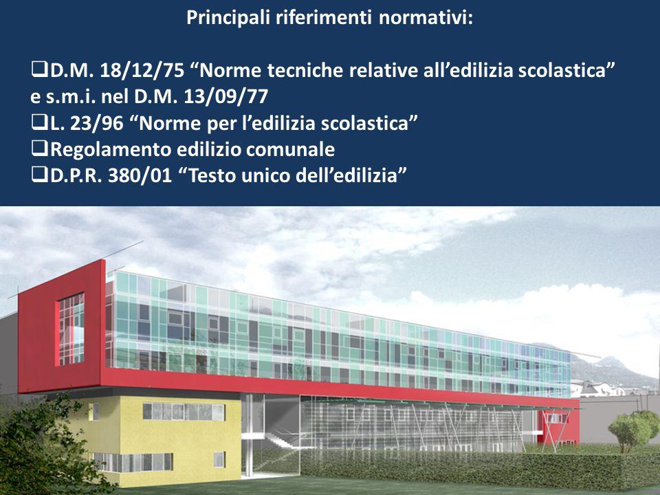 Principali riferimenti normativi: D.M. 18/12/75 Norme tecniche relative alledilizia scolastica e s.m.i. nel D.M. 13/09/77 L. 23/96 Norme per ledilizia