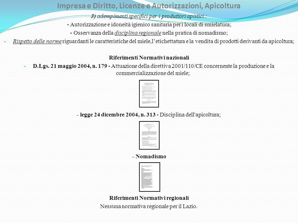 Impresa e Diritto, Licenze e Autorizzazioni, Apicoltura 3) adempimenti specifici per i produttori apistici : - Autorizzazione e idoneità igienico sani