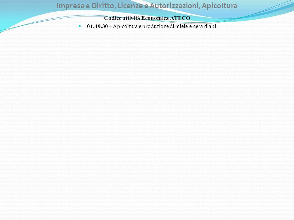 Impresa e Diritto, Licenze e Autorizzazioni, Apicoltura Codice attività Economica ATECO 01.49.30 – Apicoltura e produzione di miele e cera d'api