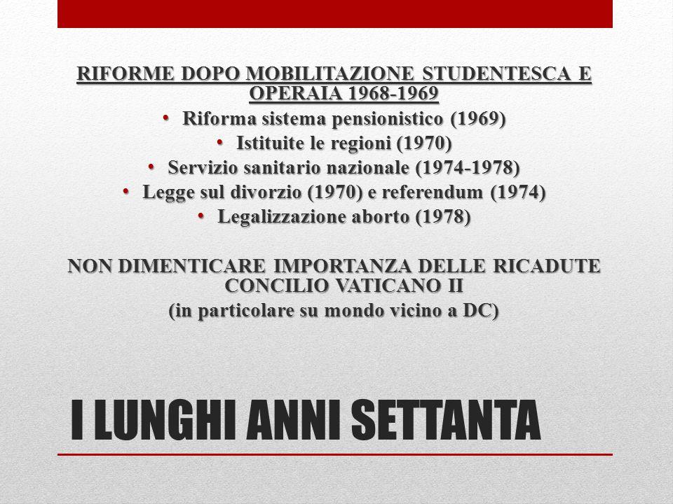 I LUNGHI ANNI SETTANTA RIFORME DOPO MOBILITAZIONE STUDENTESCA E OPERAIA 1968-1969 Riforma sistema pensionistico (1969) Riforma sistema pensionistico (