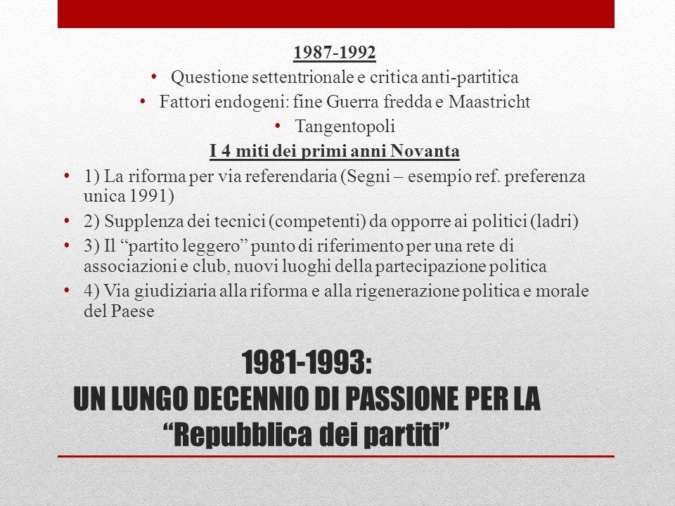 1981-1993: UN LUNGO DECENNIO DI PASSIONE PER LA Repubblica dei partiti 1987-1992 Questione settentrionale e critica anti-partitica Fattori endogeni: f