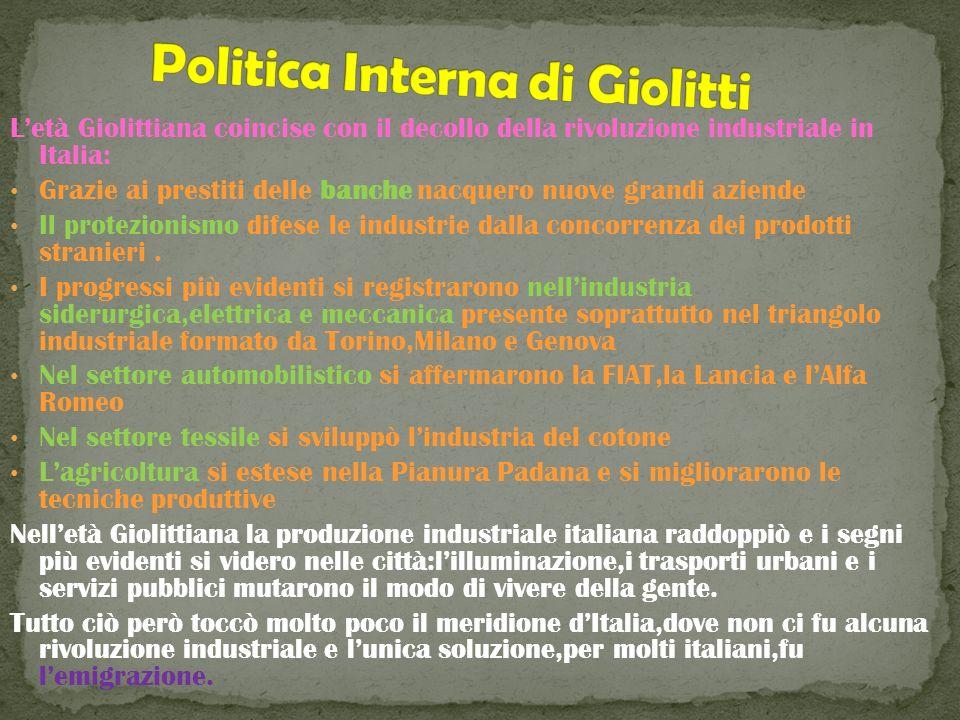 Letà Giolittiana coincise con il decollo della rivoluzione industriale in Italia: Grazie ai prestiti delle banche nacquero nuove grandi aziende Il pro