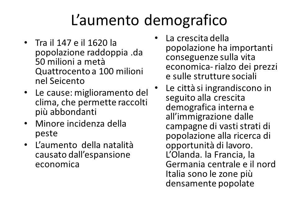 Laumento demografico Tra il 147 e il 1620 la popolazione raddoppia.da 50 milioni a metà Quattrocento a 100 milioni nel Seicento Le cause: migliorament