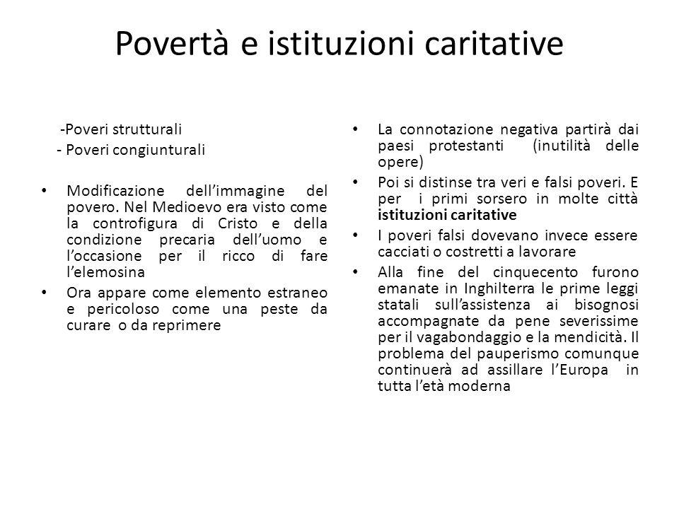 Povertà e istituzioni caritative -Poveri strutturali - Poveri congiunturali Modificazione dellimmagine del povero. Nel Medioevo era visto come la cont