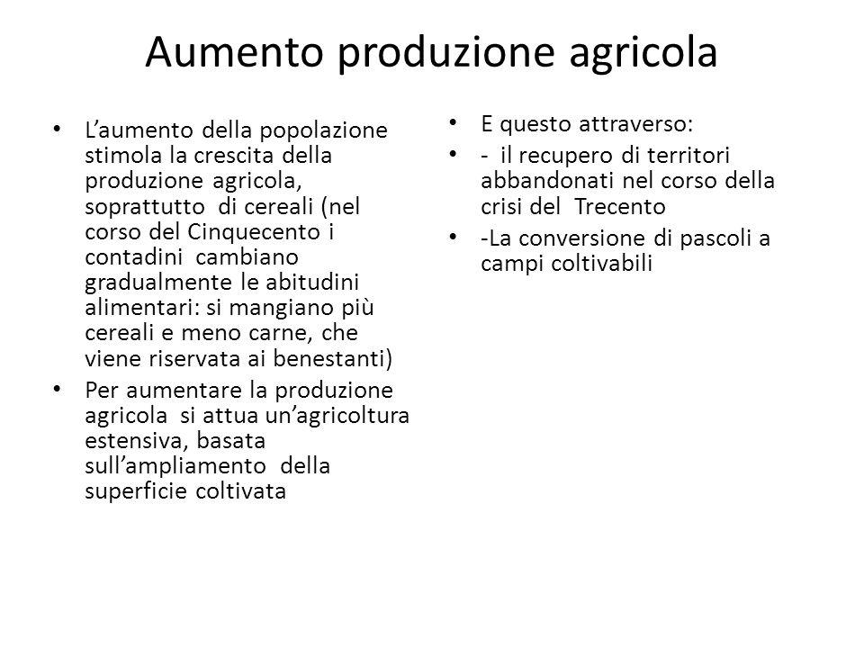 Aumento produzione agricola Laumento della popolazione stimola la crescita della produzione agricola, soprattutto di cereali (nel corso del Cinquecent