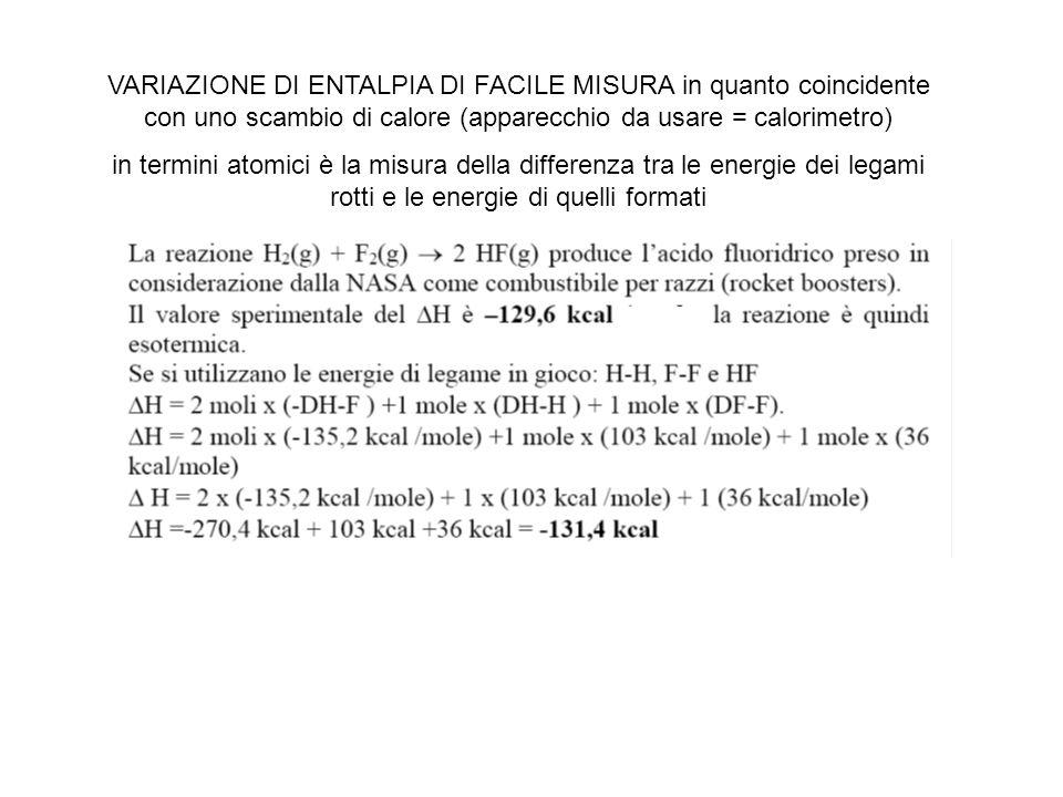 VARIAZIONE DI ENTALPIA DI FACILE MISURA in quanto coincidente con uno scambio di calore (apparecchio da usare = calorimetro) in termini atomici è la m