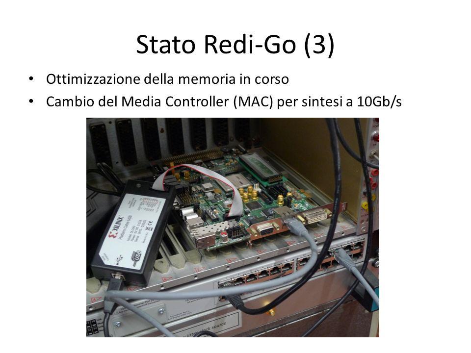 Stato Redi-Go (3) Ottimizzazione della memoria in corso Cambio del Media Controller (MAC) per sintesi a 10Gb/s