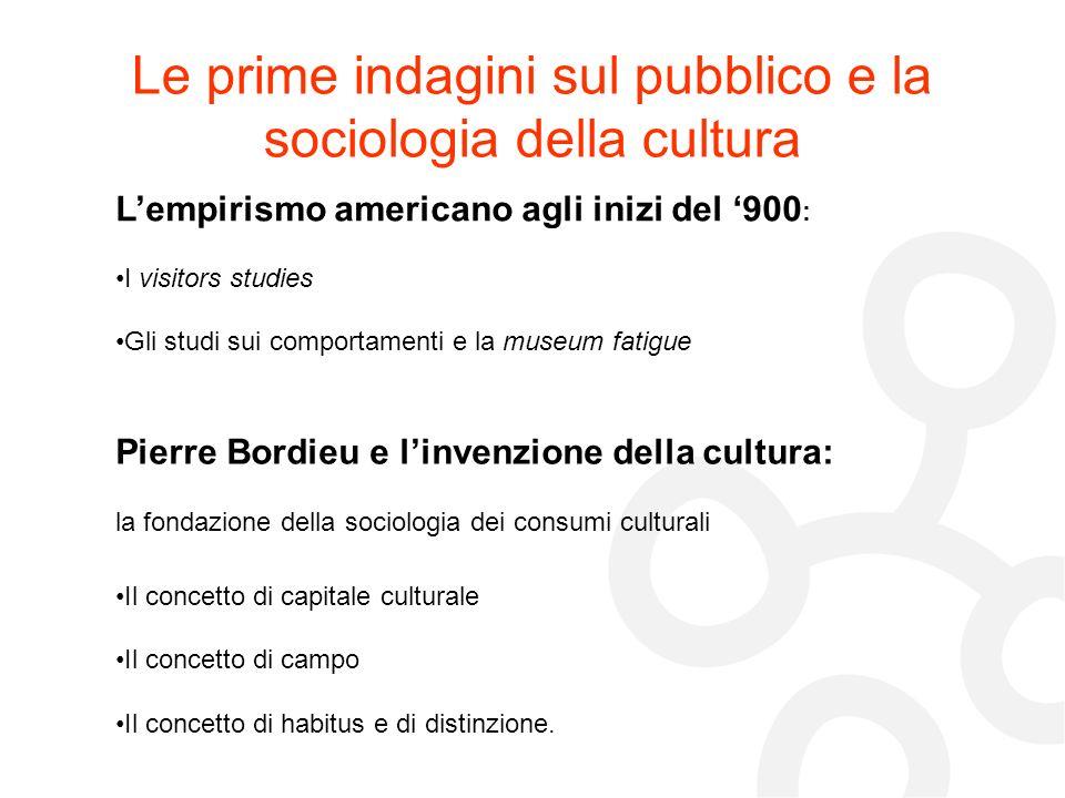 Le prime indagini sul pubblico e la sociologia della cultura Pierre Bordieu e linvenzione della cultura: la fondazione della sociologia dei consumi cu