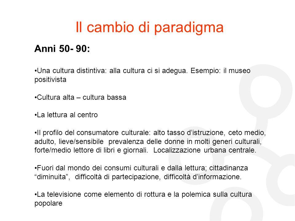 Il cambio di paradigma Anni 50- 90: Una cultura distintiva: alla cultura ci si adegua. Esempio: il museo positivista Cultura alta – cultura bassa La l