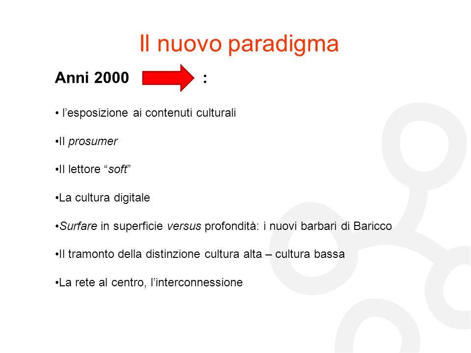 Il nuovo paradigma Anni 2000 : lesposizione ai contenuti culturali Il prosumer Il lettore soft La cultura digitale Surfare in superficie versus profon