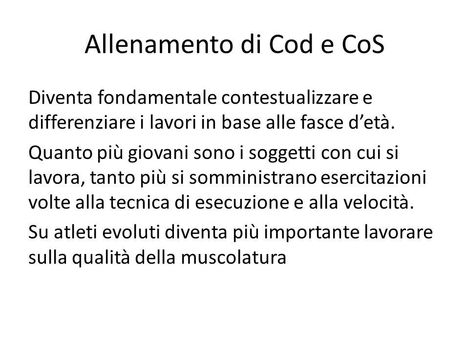 Allenamento di Cod e CoS Diventa fondamentale contestualizzare e differenziare i lavori in base alle fasce detà.