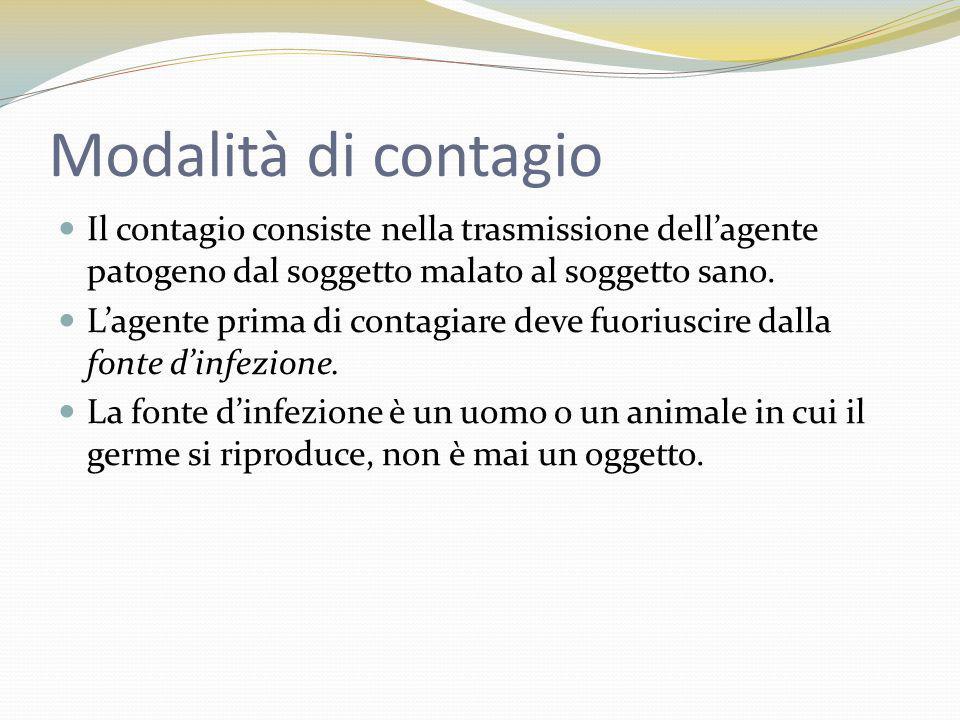 2 tipi di trasmissione CONTAGIO DIRETTO CONTAGIO INDIRETTO Si ha per contatto tra la sorgente e il recettore.