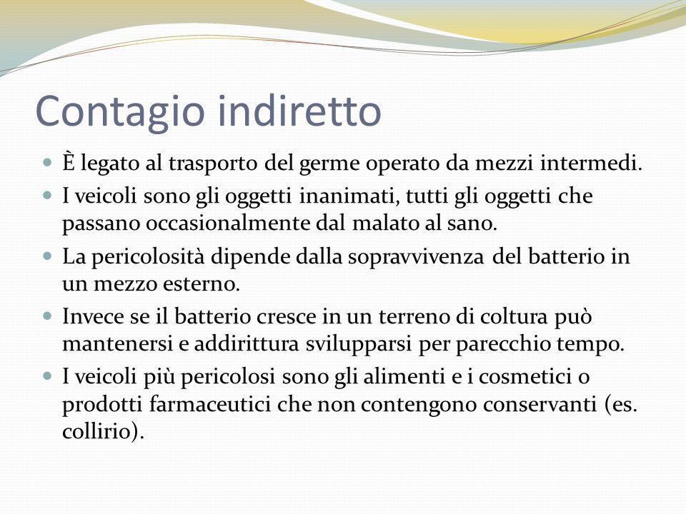 Contagio indiretto È legato al trasporto del germe operato da mezzi intermedi.