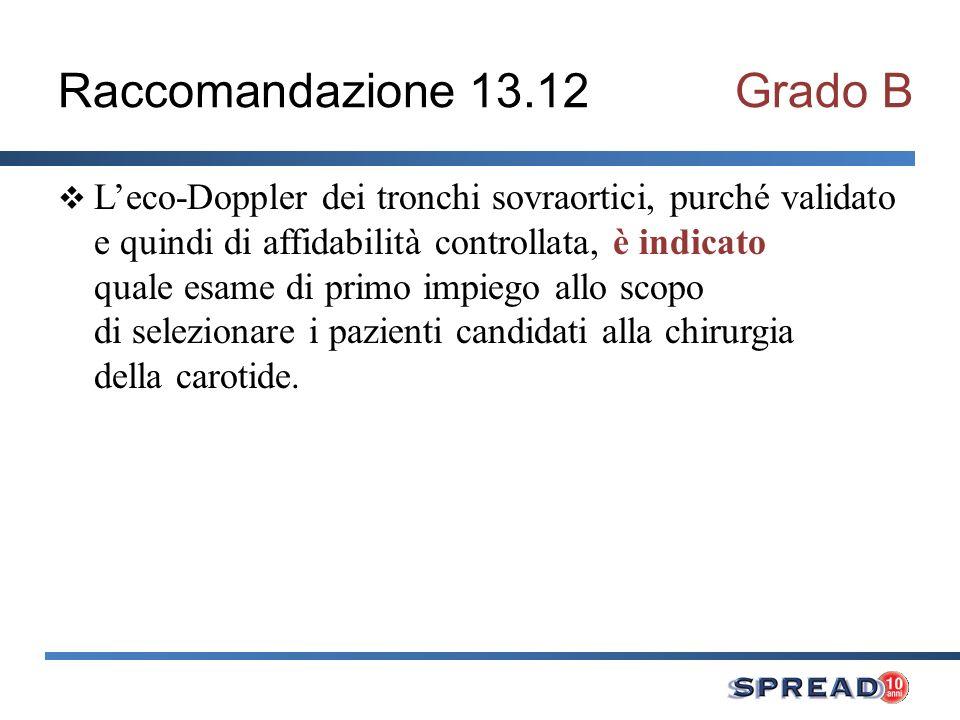 Raccomandazione 13.12Grado B Leco-Doppler dei tronchi sovraortici, purché validato e quindi di affidabilità controllata, è indicato quale esame di pri