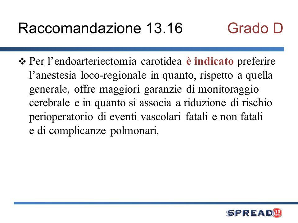 Raccomandazione 13.16Grado D Per lendoarteriectomia carotidea è indicato preferire lanestesia loco-regionale in quanto, rispetto a quella generale, of