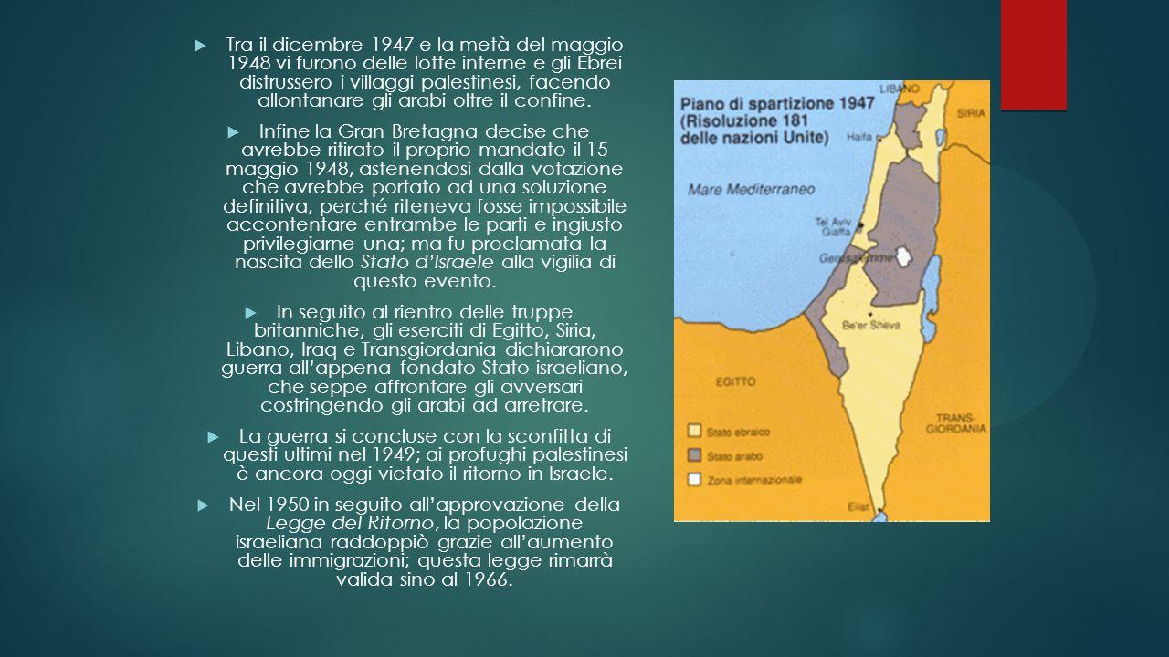 Tra il dicembre 1947 e la metà del maggio 1948 vi furono delle lotte interne e gli Ebrei distrussero i villaggi palestinesi, facendo allontanare gli a