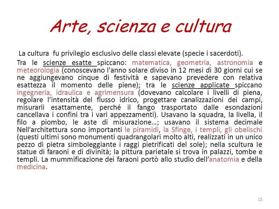 Arte, scienza e cultura La cultura fu privilegio esclusivo delle classi elevate (specie i sacerdoti). Tra le scienze esatte spiccano: matematica, geom