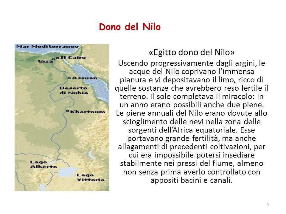 Dono del Nilo «Egitto dono del Nilo» Uscendo progressivamente dagli argini, le acque del Nilo coprivano limmensa pianura e vi depositavano il limo, ri