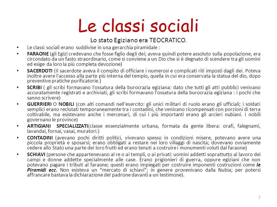 Le classi sociali Lo stato Egiziano era TEOCRATICO. Le classi sociali erano suddivise in una gerarchia piramidale : FARAONE (gli Egizi credevano che f