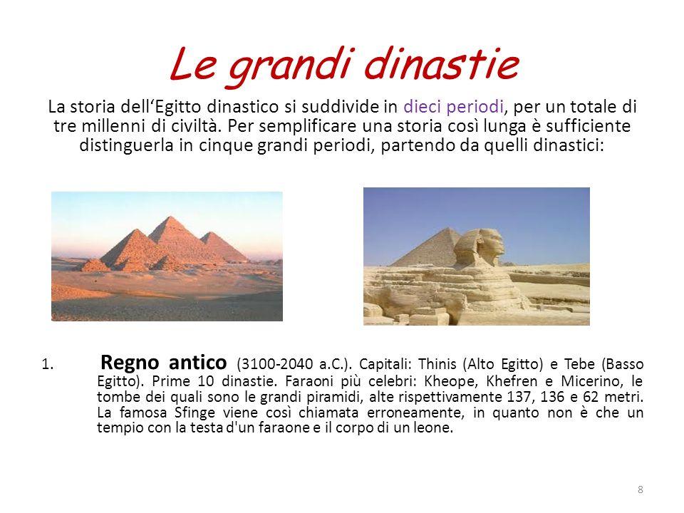 Le grandi dinastie La storia dellEgitto dinastico si suddivide in dieci periodi, per un totale di tre millenni di civiltà. Per semplificare una storia