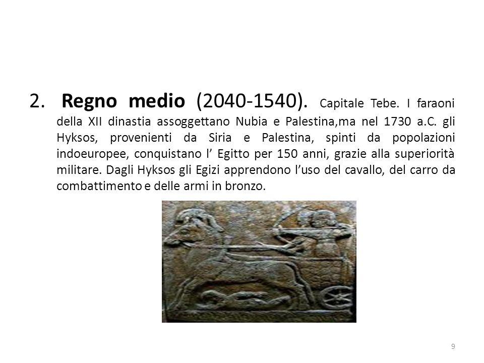 2. Regno medio (2040-1540). Capitale Tebe. I faraoni della XII dinastia assoggettano Nubia e Palestina,ma nel 1730 a.C. gli Hyksos, provenienti da Sir