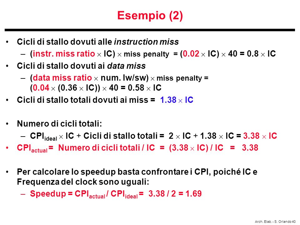 Arch. Elab. - S. Orlando 40 Esempio (2) Cicli di stallo dovuti alle instruction miss –(instr. miss ratio IC) miss penalty = (0.02 IC) 40 = 0.8 IC Cicl