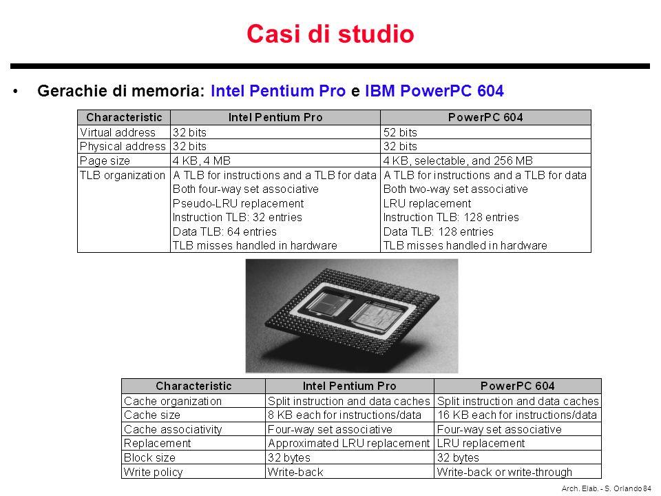 Arch. Elab. - S. Orlando 84 Casi di studio Gerachie di memoria: Intel Pentium Pro e IBM PowerPC 604