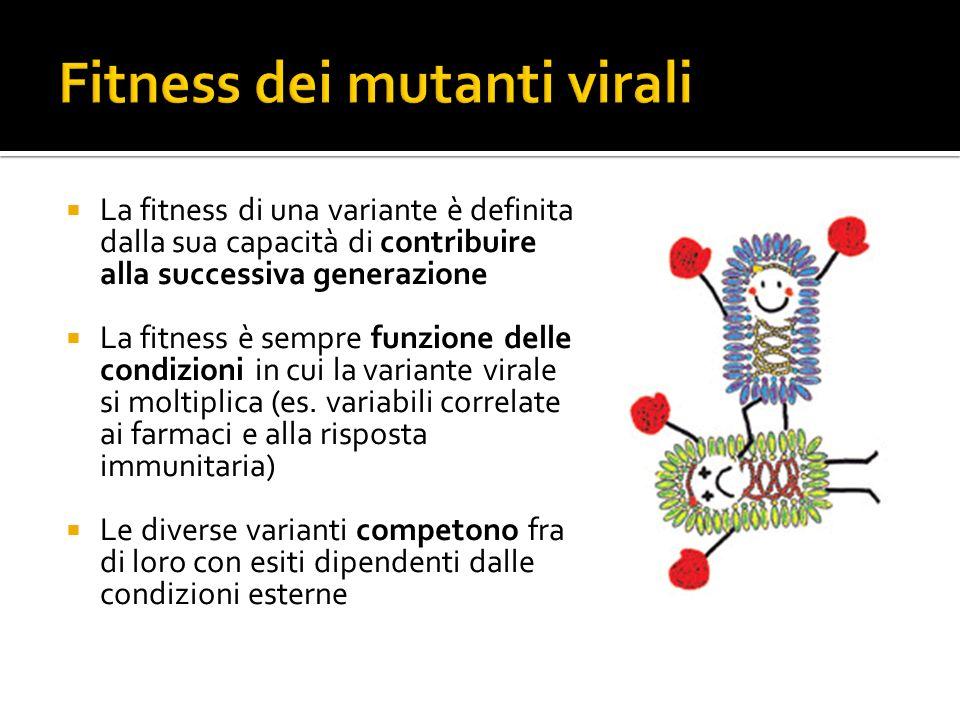 La fitness di una variante è definita dalla sua capacità di contribuire alla successiva generazione La fitness è sempre funzione delle condizioni in c