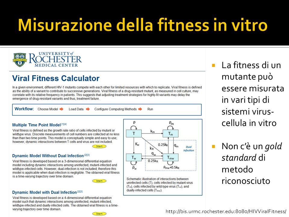 La fitness di un mutante può essere misurata in vari tipi di sistemi virus- cellula in vitro Non cè un gold standard di metodo riconosciuto http://bis