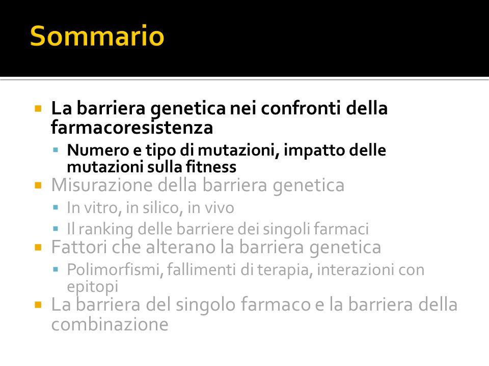 La barriera genetica nei confronti della farmacoresistenza Numero e tipo di mutazioni, impatto delle mutazioni sulla fitness Misurazione della barrier