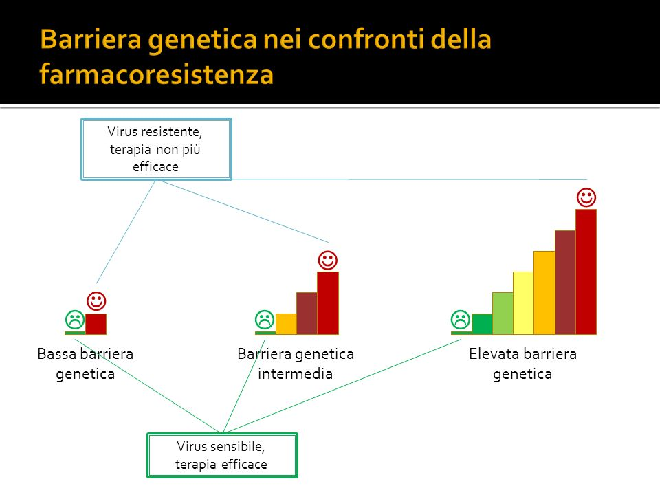 Bassa barriera genetica Barriera genetica intermedia Elevata barriera genetica Virus resistente, terapia non più efficace Virus sensibile, terapia eff