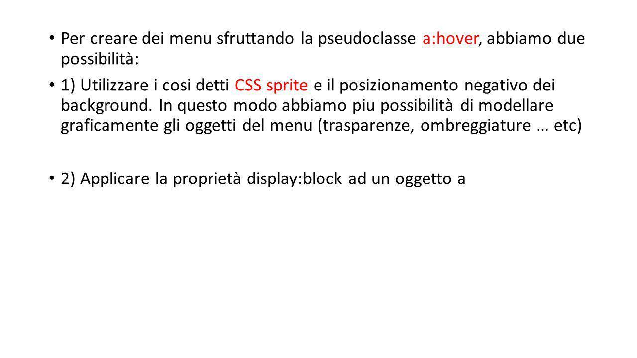 Per creare dei menu sfruttando la pseudoclasse a:hover, abbiamo due possibilità: 1) Utilizzare i cosi detti CSS sprite e il posizionamento negativo dei background.