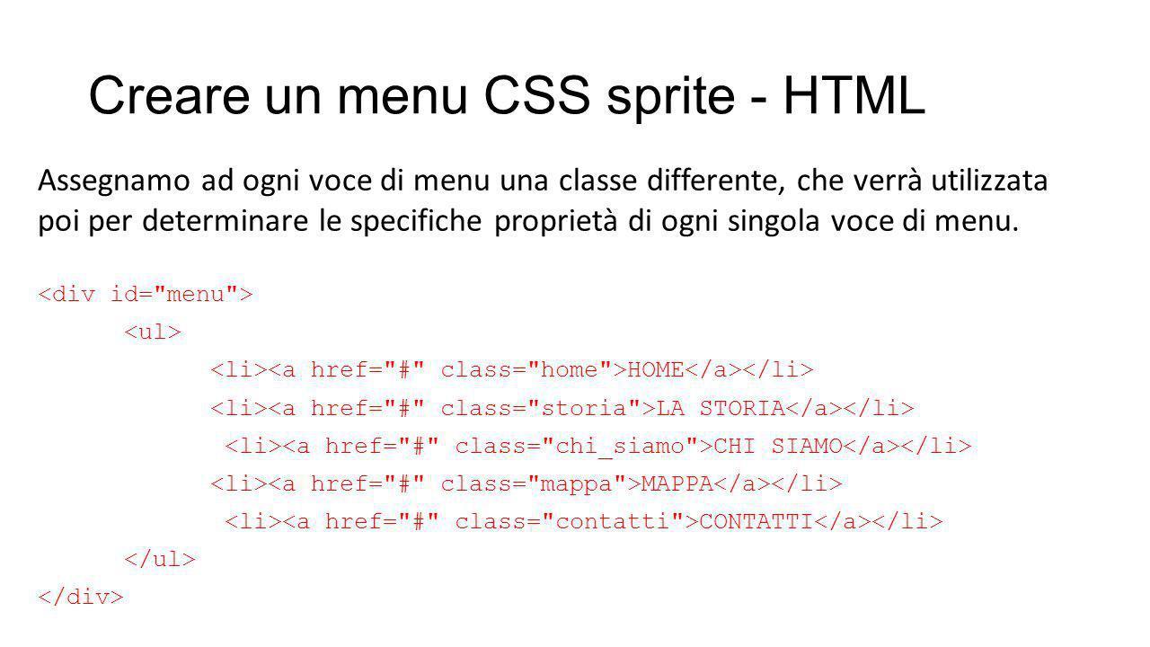 Creare un menu CSS sprite - HTML HOME LA STORIA CHI SIAMO MAPPA CONTATTI Assegnamo ad ogni voce di menu una classe differente, che verrà utilizzata poi per determinare le specifiche proprietà di ogni singola voce di menu.