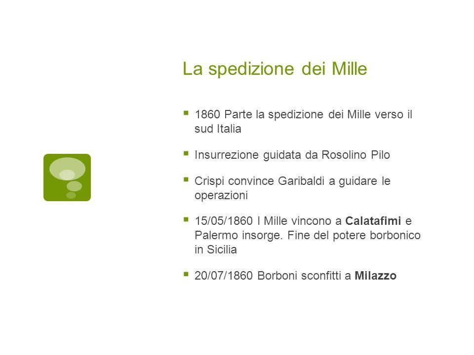 La spedizione dei Mille 1860 Parte la spedizione dei Mille verso il sud Italia Insurrezione guidata da Rosolino Pilo Crispi convince Garibaldi a guida