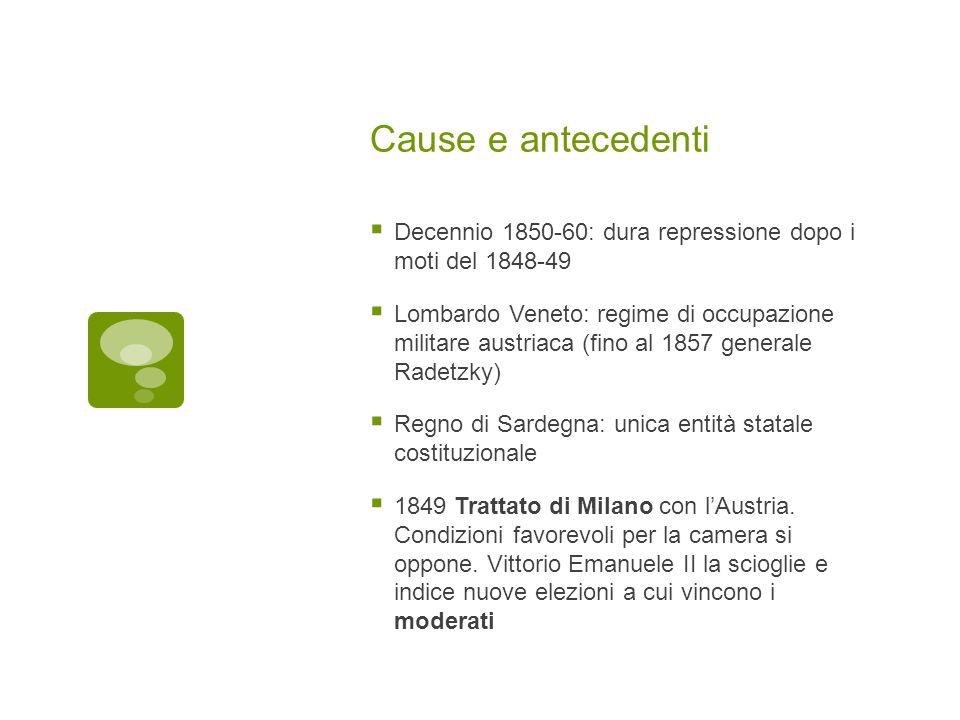 Cause e antecedenti Decennio 1850-60: dura repressione dopo i moti del 1848-49 Lombardo Veneto: regime di occupazione militare austriaca (fino al 1857