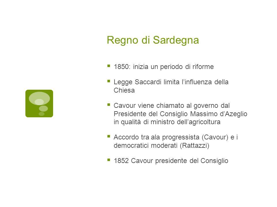 Regno di Sardegna 1850: inizia un periodo di riforme Legge Saccardi limita linfluenza della Chiesa Cavour viene chiamato al governo dal Presidente del