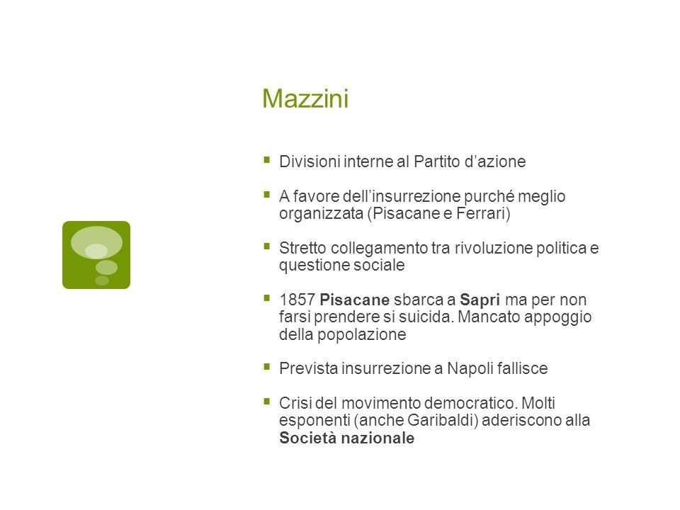 Mazzini Divisioni interne al Partito dazione A favore dellinsurrezione purché meglio organizzata (Pisacane e Ferrari) Stretto collegamento tra rivoluz