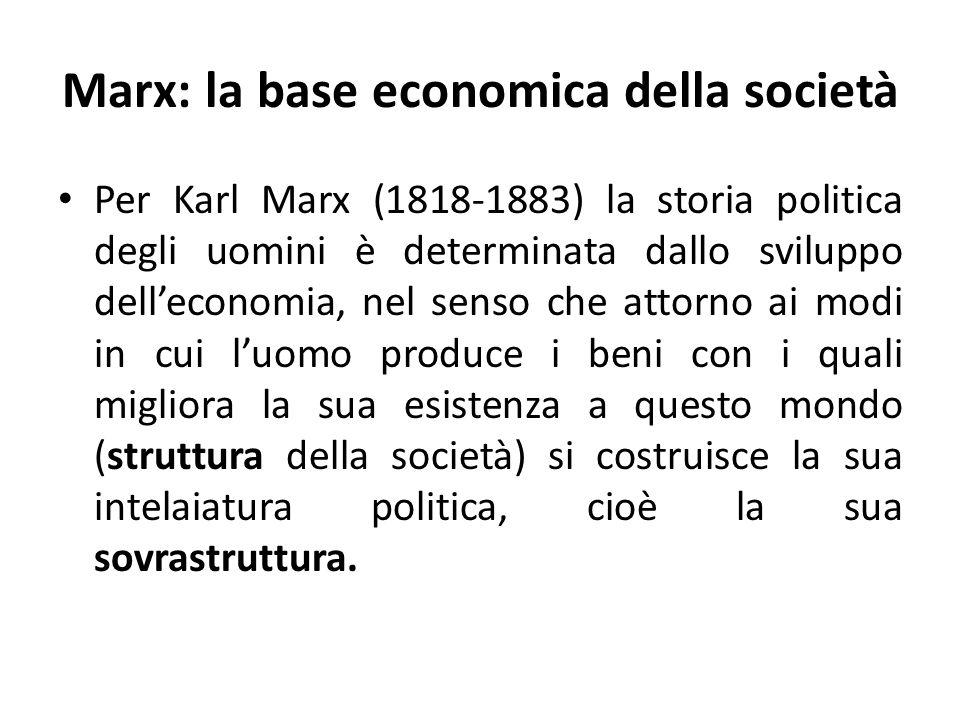 Marx: la base economica della società, esempio Per esempio quando la tecnica è assai poco sviluppata, leconomia è prevalentemente agricola e non è ancora subentrata la divisione del lavoro, la società non ha bisogno di complesse strutture di potere e quindi è abbastanza libera ed egalitaria; quando invece subentra la divisione del lavoro (in lavoro intellettuale e manuale) e la necessità di opere grandi in cui vi sia qualcuno che dirige e altri che eseguono, allora nasce un potere, e con esso le prime forme di accaparramento illecito e di sfruttamento.