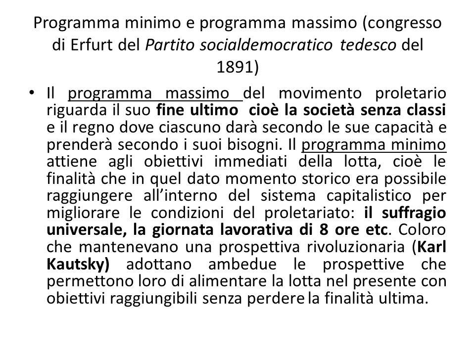 Revisionismo Altri membri del Partito socialdemocratico tedesco e dellInternazionale, guidati da Eduard Bernstein, intendono invece rivedere la teoria marxiana, visto che il crollo del capitalismo previsto dai testi del filosofo di Treviri non è avvenuto.