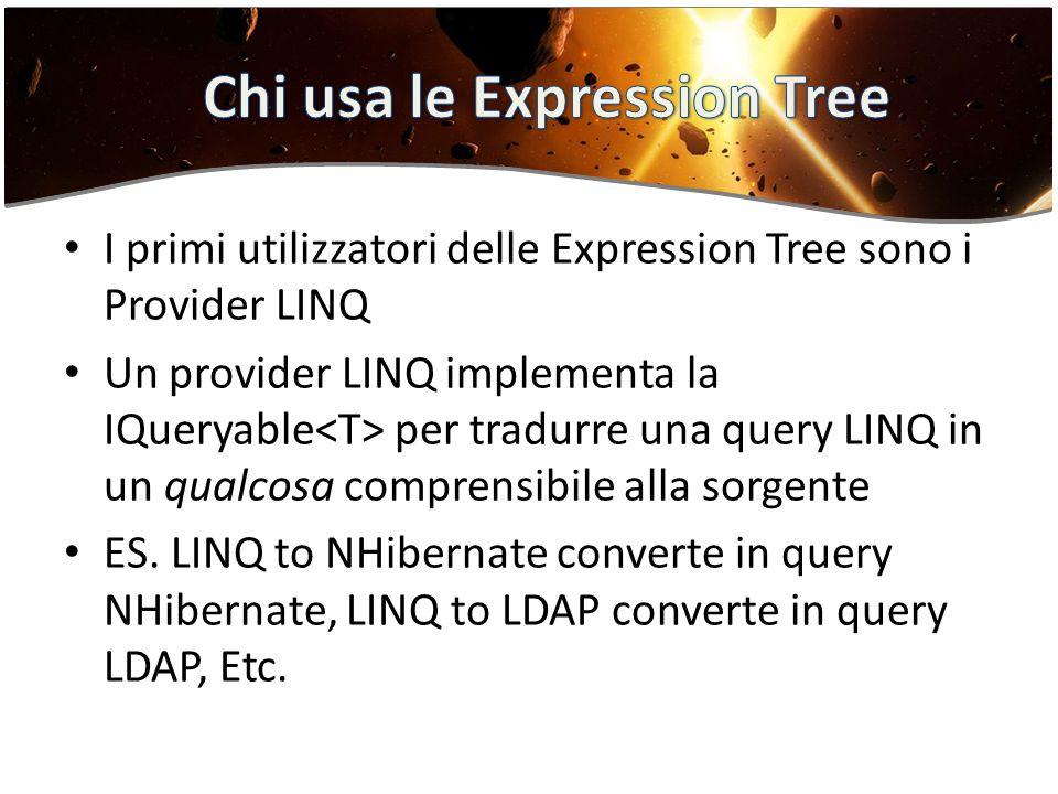 I primi utilizzatori delle Expression Tree sono i Provider LINQ Un provider LINQ implementa la IQueryable per tradurre una query LINQ in un qualcosa comprensibile alla sorgente ES.