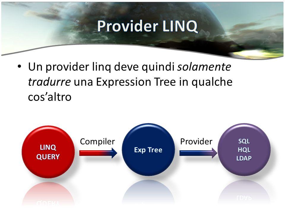 Un provider linq deve quindi solamente tradurre una Expression Tree in qualche cosaltro CompilerProvider