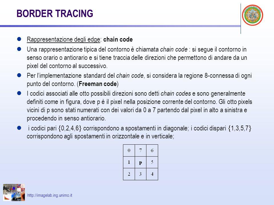 http://imagelab.ing.unimo.it BORDER TRACING Rappresentazione degli edge: chain code Una rappresentazione tipica del contorno è chiamata chain code : si segue il contorno in senso orario o antiorario e si tiene traccia delle direzioni che permettono di andare da un pixel del contorno al successivo.